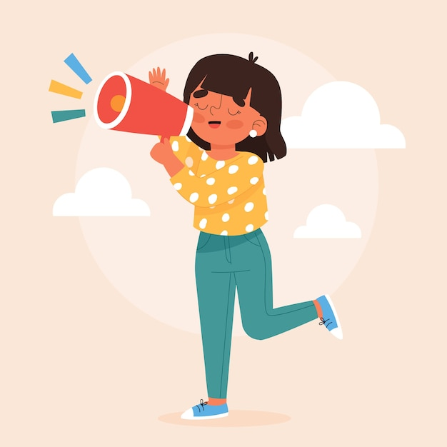 Woman screaming through her megaphone Free Vector