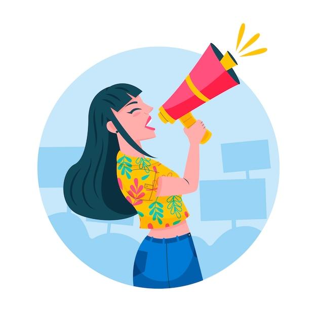 Женщина кричащая с иллюстрацией мегафона Бесплатные векторы