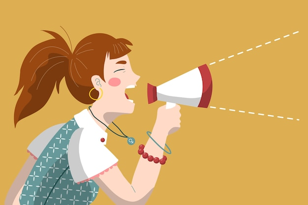 Woman screaming with a megaphone design Free Vector