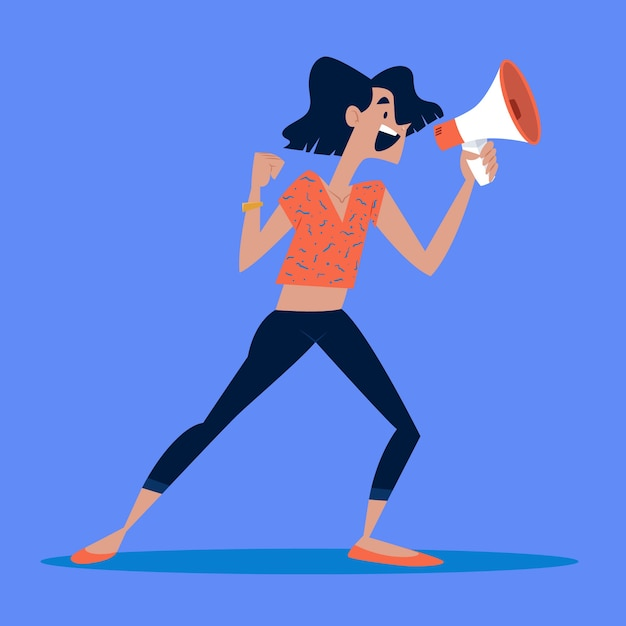 Woman screaming with a megaphone Free Vector