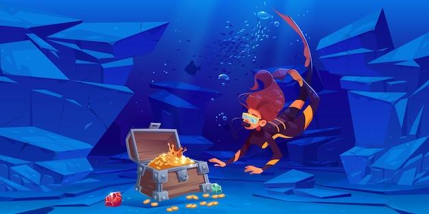 여성 스쿠버 다이버는 바다 또는 바다의 물속에서 금으로 보물 상자를 찾습니다. 무료 벡터