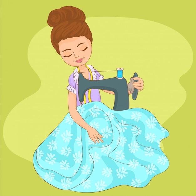 Woman seamstress sewing on machine Premium Vector