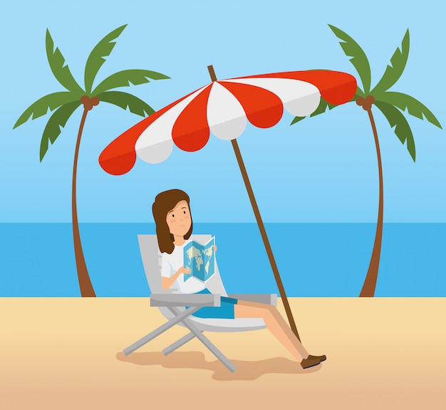 Woman seating chair with umbrella in the beach Free Vector