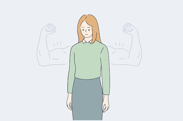 女性の自尊心、自信、強さの概念 Premiumベクター