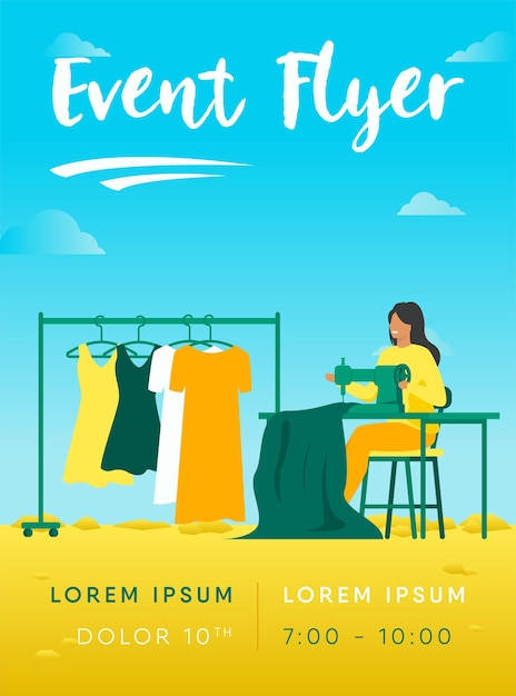 Woman sewing new dress on stitching machine flyer template Free Vector