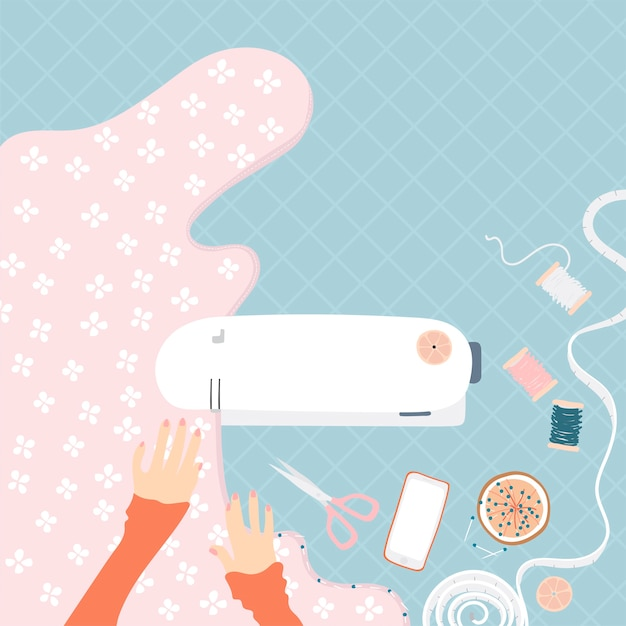 Woman sewing on a sewing machine Free Vector