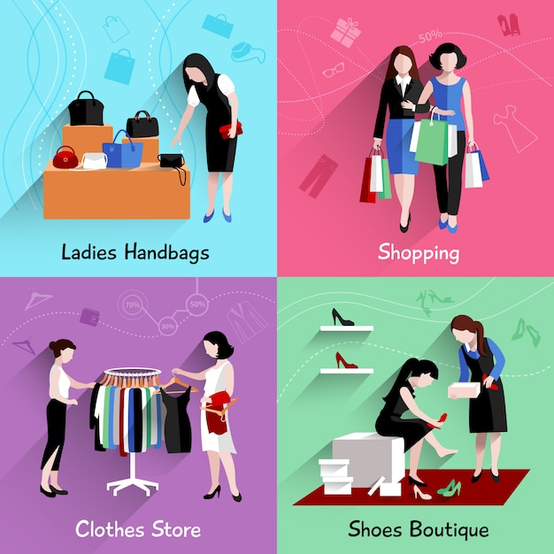 Woman shopping design concept set with handbags clothes and shoes stores flat icons isolated Free Vector
