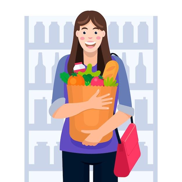 Женщина, ходить по магазинам для продуктов Бесплатные векторы