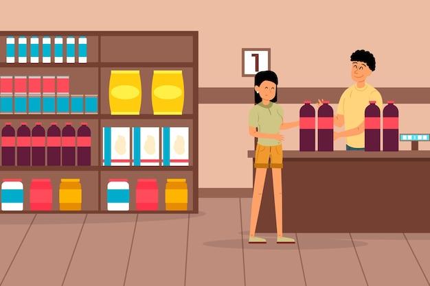 食料品の買い物の女性 無料ベクター