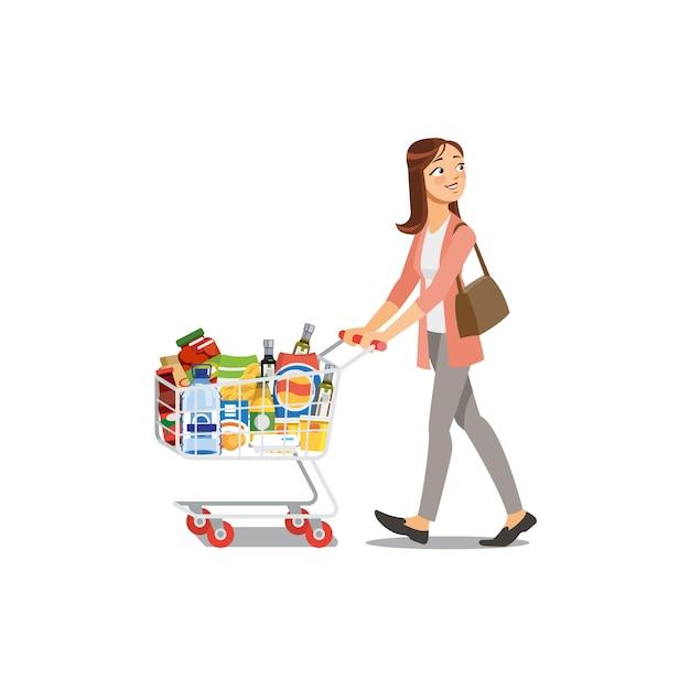 Woman shopping in grocery shop cartoon vector Premium Vector