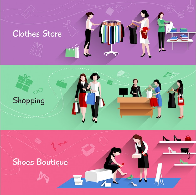 Woman shopping horizontal banner set with clothes and shoes store elements Free Vector
