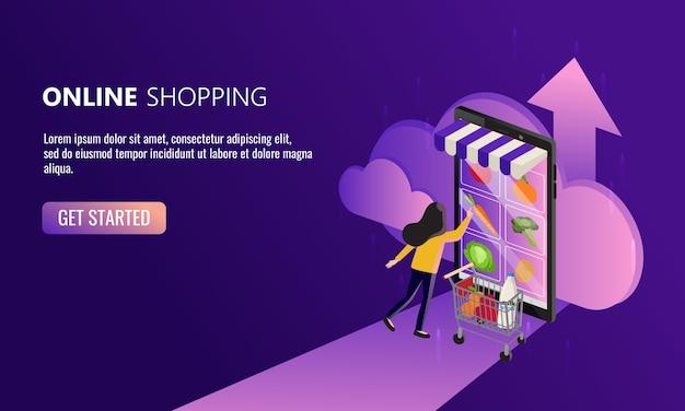 女性はスマートフォンからオンラインで買い物をします。簡単な食料品の買い物のコンセプト。コロナウイルスパンデミック時代の新しい通常のライフスタイル。家で安全に。 Premiumベクター