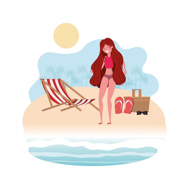 Woman on the shore of the beach with picnic basket Free Vector