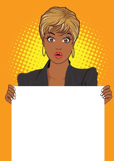 Woman showing an empty banner Premium Vector