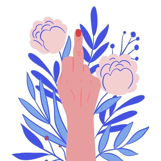 Женщина показывает символ ебать тебя с цветочными орнаментами Premium векторы