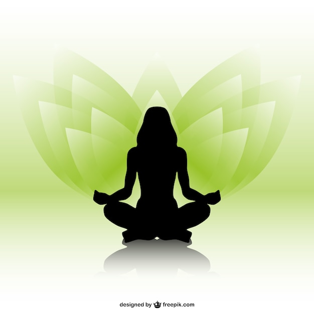 Woman silhouette and yoga mandala Free Vector