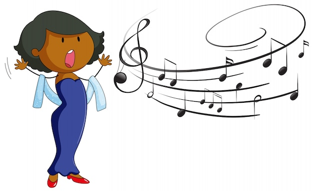 Woman singing on white background Free Vector