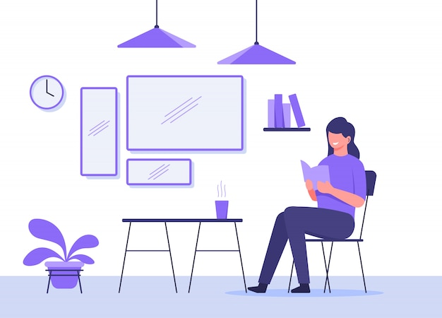 Woman sit in chair reading book in front cup warm drink on table background mirror hanging lamp plant clock with flat cartoon style. Premium Vector