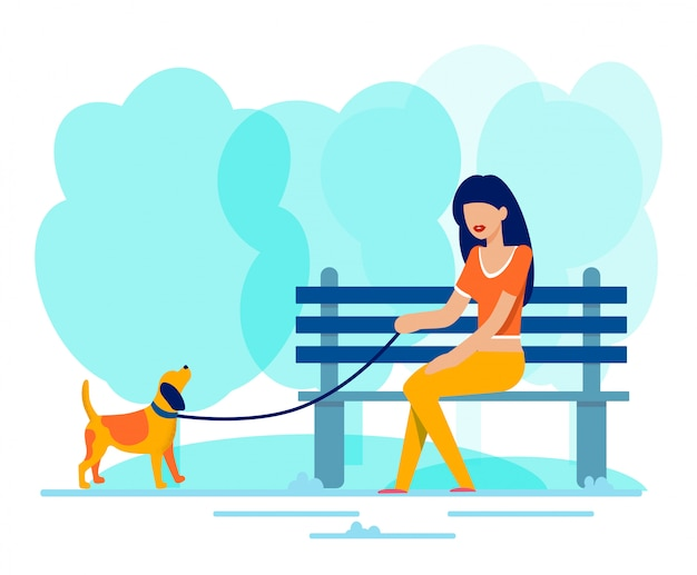 Woman sits on bench along walking dog in park Premium Vector