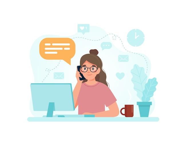 コンピューターが呼び出しに応答して机に座っている女性。 Premiumベクター
