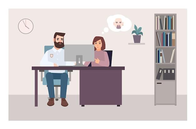 Женщина сидит за столом с полицейским, смотрит на экран компьютера и пытается идентифицировать преступника с помощью фотографии. жертва преступления в отделении полиции. плоские герои мультфильмов. красочные векторные иллюстрации. Premium векторы