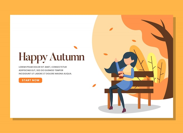 A woman sitting in the bench in the warm autumn day landing page Premium Vector