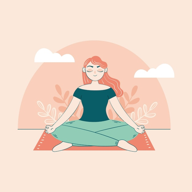 Woman sitting on the carpet meditation concept Free Vector