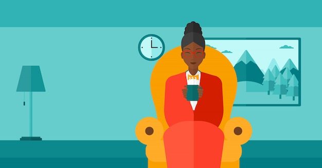 Woman sitting in chair with cup of tea Premium Vector