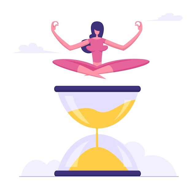 Женщина сидит со скрещенными ногами, медитируя на плоской иллюстрации песочные часы Premium векторы