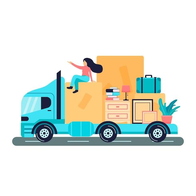トラックの上に座って家を移動する女性 無料ベクター