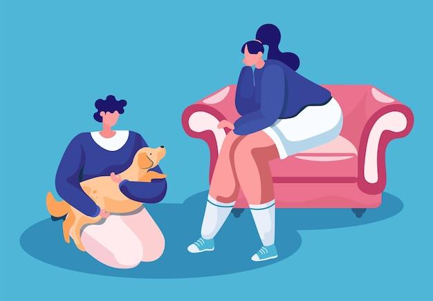 Женщина, сидящая на уютном диване и мужчина с милой собакой в руках на полу, изолировали счастливых владельцев домашних животных Premium векторы