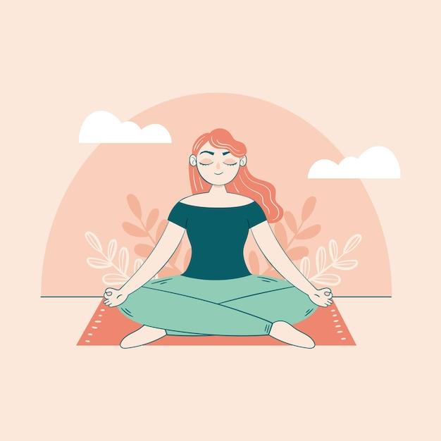 Женщина, сидящая на ковре медитации концепции Бесплатные векторы