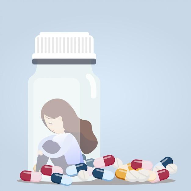 Woman sitting in pill bottles. Premium Vector