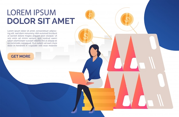 Woman sitting on rouleau webpage Free Vector