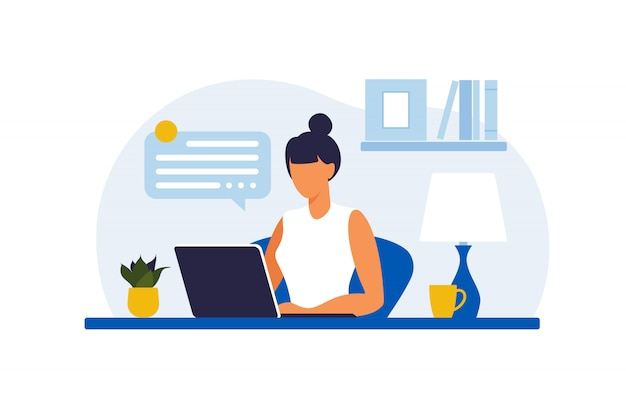 Woman sitting at the table with laptop. working on a computer. freelance, online education or social media concept. working from home, remote job. flat style. illustration. Premium Vector