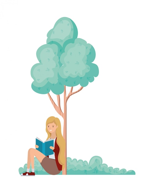 Woman sitting with book in landscape with trees and plants Premium Vector