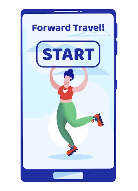 Woman skating on rollers on tablet touchscreen Premium Vector