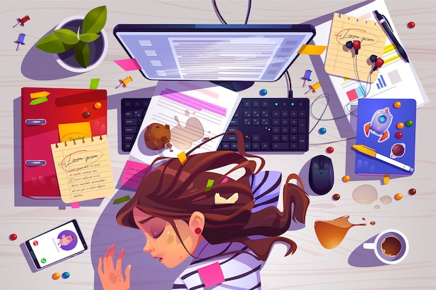 Woman sleep on workplace top view, tired girl lying on messy office desk with rubbish Free Vector