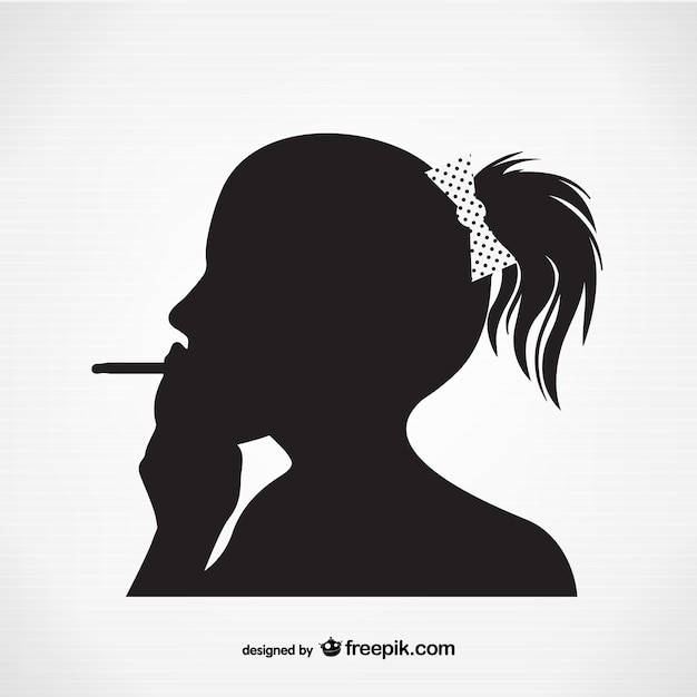 Woman smoking silhouette  Free Vector