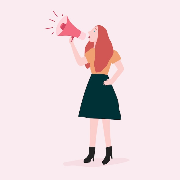 Woman speaking on a megaphone for feminist support vector Free Vector