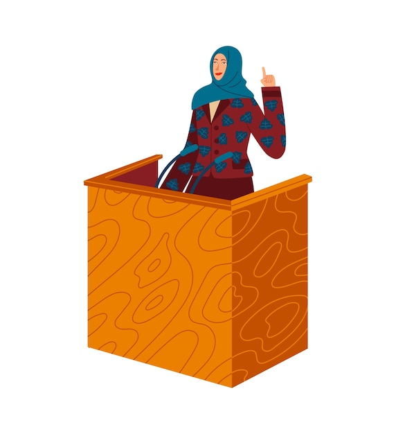 Woman speaks from tribune to audience, feminism, women's rights Premium Vector