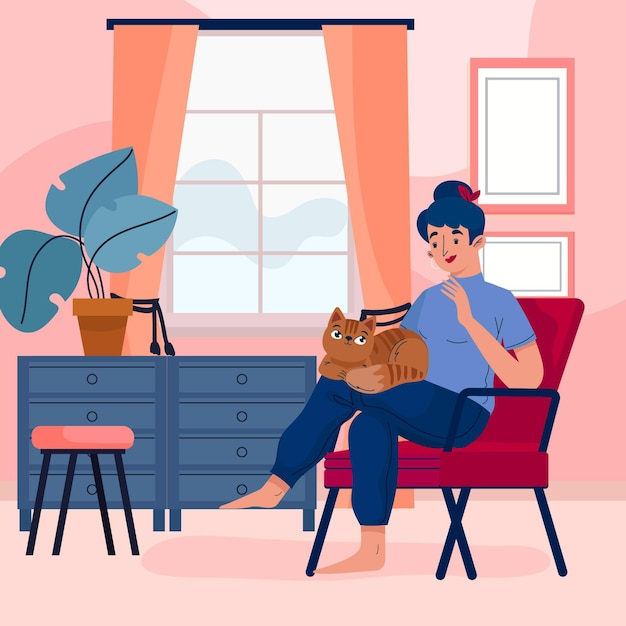 Женщина проводит время со своим котенком Бесплатные векторы