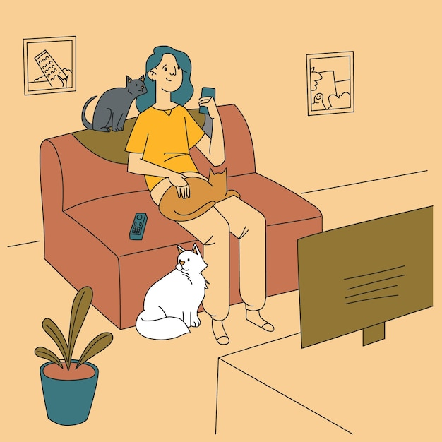 그들의 솜 털 고양이와 시간을 보내는 여자 무료 벡터