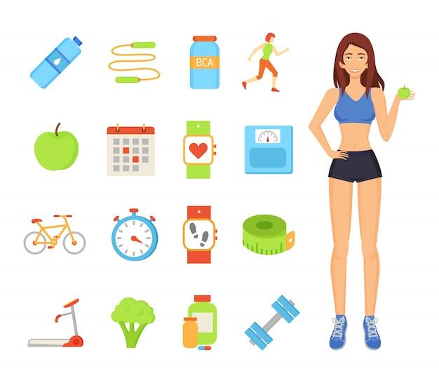 Woman sportive female elements illustration Premium Vector