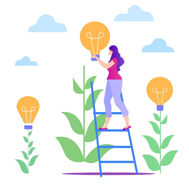 Woman on stairs with yellow lamp. grow idea. Premium Vector