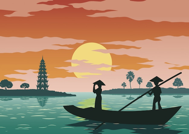 Woman stand in boat to go to pay respect Premium Vector