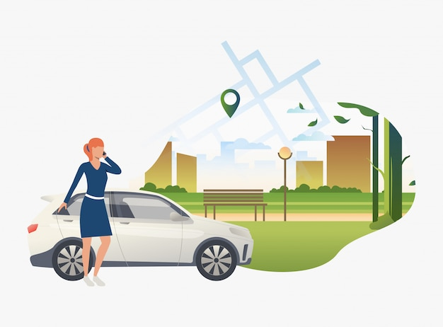 Woman standing by car with city park in background Free Vector