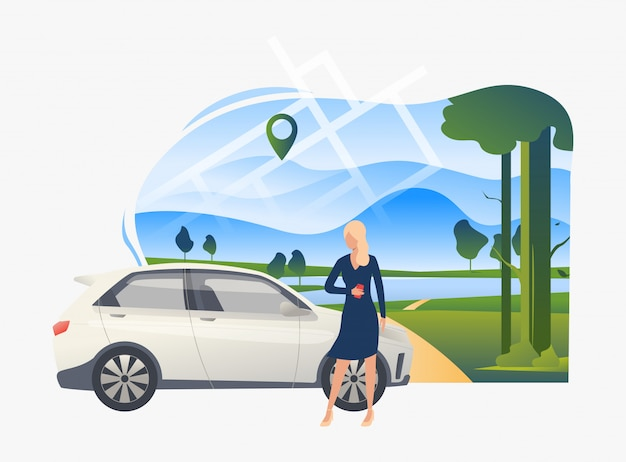 Woman standing by car with landscape in background Free Vector