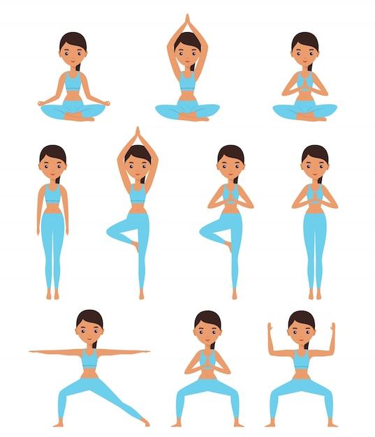 Женщина, стоящая в йоге, ставит лотоса, богиню, гору, дерево, воина. Premium векторы
