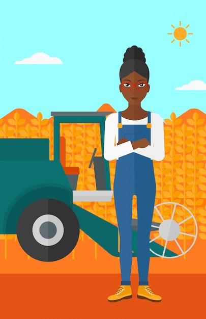Woman standing with combine on background. Premium Vector